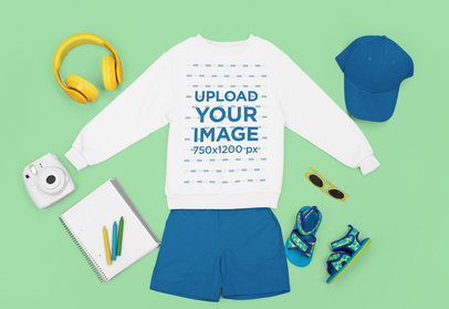 Sweatshirt Mockup Featuring a Kids' Cool Outfit m1264