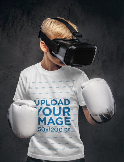 T-Shirt Mockup Featuring a Boy With a VR Headset and Boxing Gloves 37693-r-el2