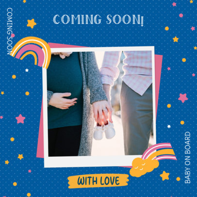 Pregnancy Announcement Instagram Post Design Template for Loving Families 3404i