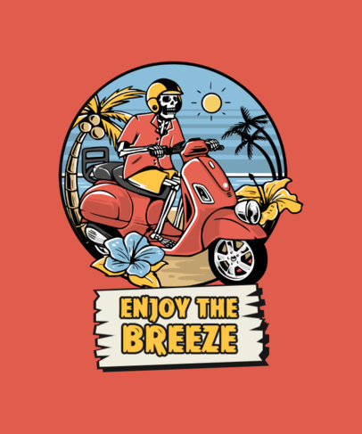 T-Shirt Design Creator Featuring a Skeleton Riding a Scooter 3551b-el1