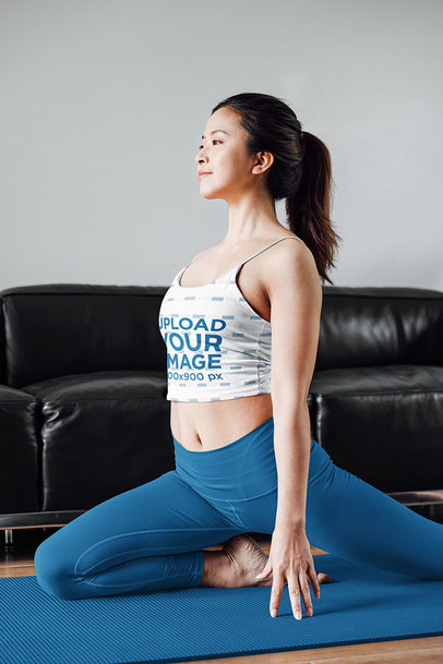 Tank Top Mockup of a Yogi Practicing Her Split 42195-r-el2
