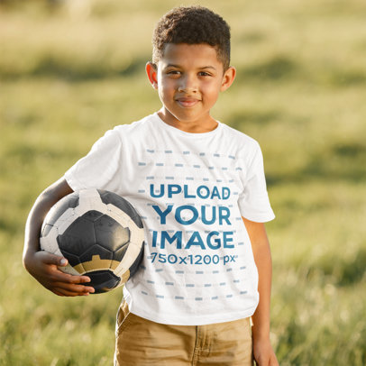 Round Neck T-Shirt Mockup of a Boy Holding a Soccer Ball 43844-r-el2