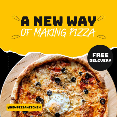 Instagram Post Design Generator for a Pizza Place Featuring a Free Delivery Promo 3542a-el1