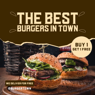 Instagram Post Design Maker for a Burger Place Featuring a Special Offer 3542c-el1