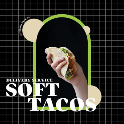 Food Delivery-Themed Instagram Post Template with a Picture of a Taco 3544c-el1
