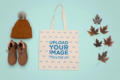 Tote Bag Mockup Featuring Autumn Paraphernalia m1275