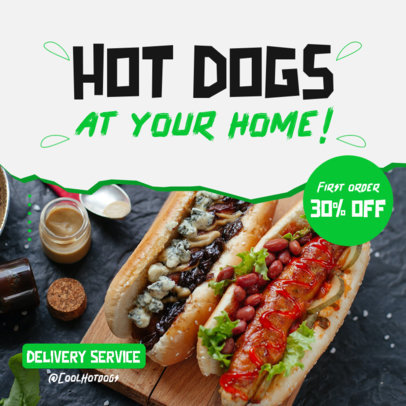 Instagram Post Design Template for a Hot Dog Restaurant Featuring Special Deals 3542b-el1