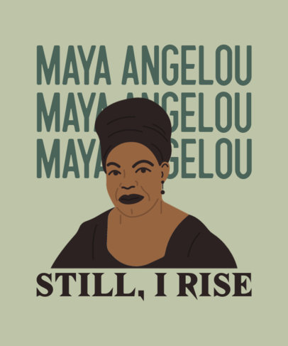 Black History Month T-Shirt Design Maker Featuring an Illustrated Portrait of Maya Angelou 3409f