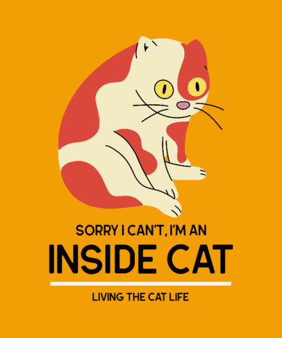 T-Shirt Design Template with a Funny Cat Graphic and a Quote 3407d
