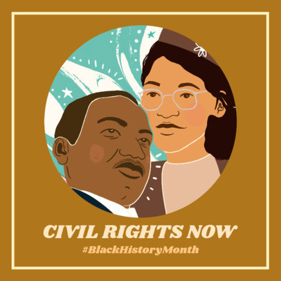 Facebook Post Template with an Illustration of Important Figures for Black History Month 3412e