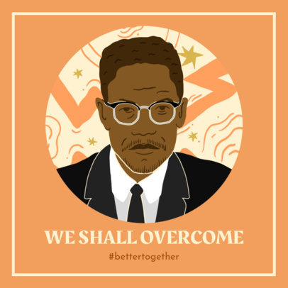 Illustrated Facebook Post Maker with a Powerful Quote for Black History Month 3412g