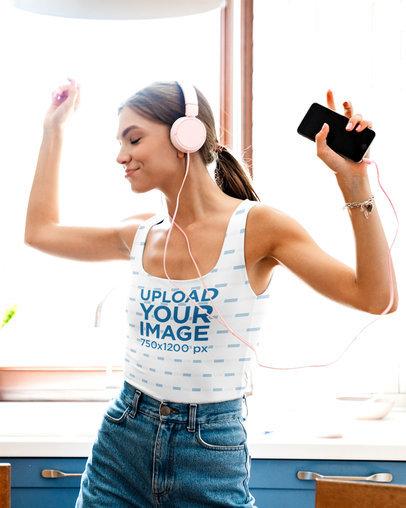 Tank Top Mockup of a Woman Enjoying Some Music at Home 42809-r-el2