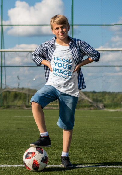 T-Shirt Mockup of a Boy at a Soccer Field m1459-r-el2