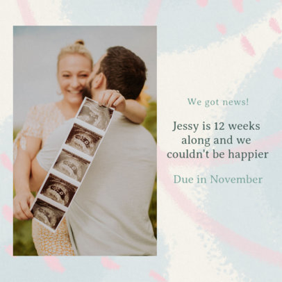 Instagram Post Generator for Expecting Parents Featuring a Pastel Color Background 3404h