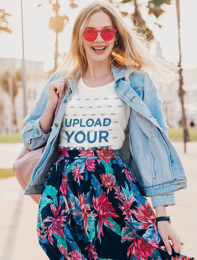 T-Shirt Mockup of a Fashionable Woman with Colorful Sunglasses m1721-r-el2