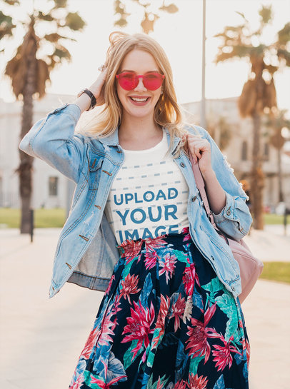 T-Shirt Mockup of a Happy Woman Wearing a Fresh Spring Outfit m1720-r-el2