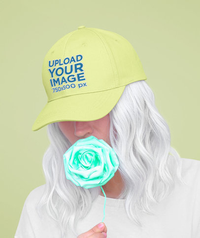 Dad Hat Mockup of a Silver-Haired Woman Holding a Fake Rose 44682-r-el2