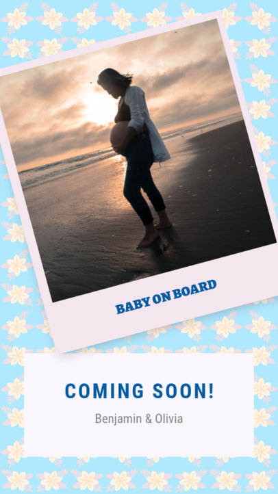 Pregnancy-Themed Instagram Story Template with a Polaroid Frame 3401d