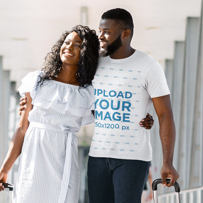 Basic T-Shirt Mockup of a Bearded Man and His Girlfriend at the Airport m2106-r-el2
