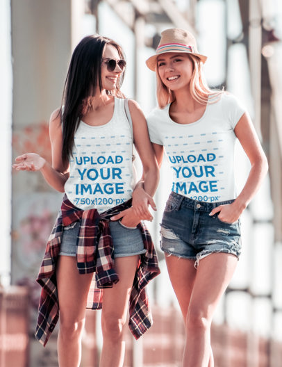 T-Shirt and Tank Top Mockup Featuring a Two Women Walking Down the Street 45283-r-el2