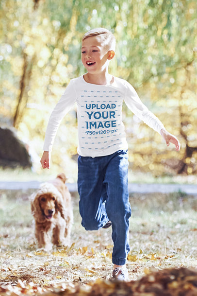 Long Sleeve Tee Mockup of a Boy Playing with His Dog m1423-r-el2