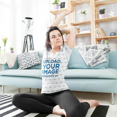 Sublimated T-Shirt Mockup of a Woman Doing Yoga at Home m2005-r-el2