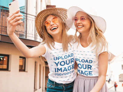 T-Shirt Mockup Featuring Two Female Friends Taking a Selfie m1591-r-el2