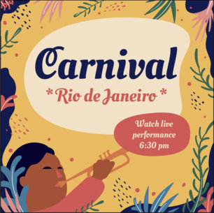 Facebook Post Design Template with Brazilian Carnival-Inspired Illustrations 3427