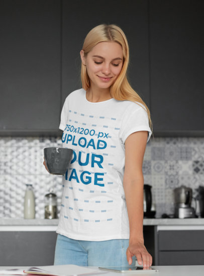 T-Shirt Mockup of a Woman Checking the News in the Morning m1450-r-el2