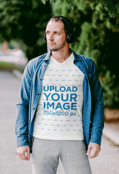 T-Shirt Mockup of a Man With an Athleisure Look Listening to Music m1779-r-el2
