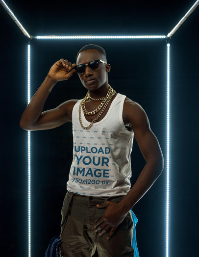 Tank Top Mockup of a Man with Gold Chains and Sunglasses at a Studio m1834-r-el2