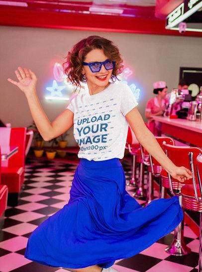 Heather T-Shirt Mockup of a Happy Woman Dancing at a Retro Diner 2083-r-el2