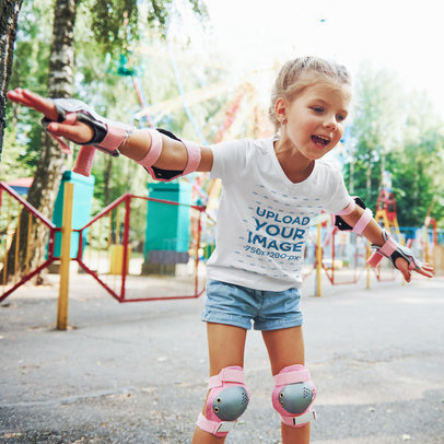 V-Neck Tee Mockup of a Little Girl Skating at a Park 1440-r-el2