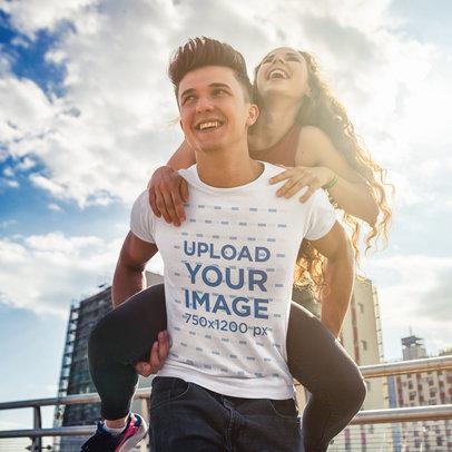 T-Shirt Mockup Featuring a Man Having Fun with His Girlfriend m1945-r-el2