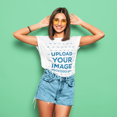 T-Shirt Mockup of a Stylish Young Woman in a Summer Outfit m1366-r-el2