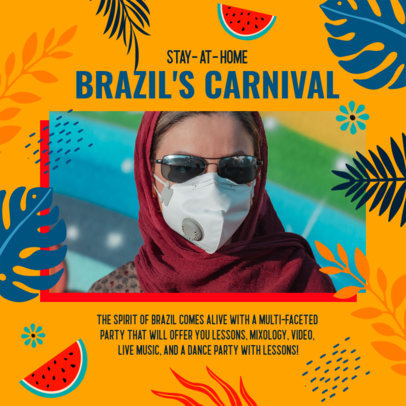 Instagram Post Maker for a Stay-at-Home Brazilian Carnival Festivity 3432g
