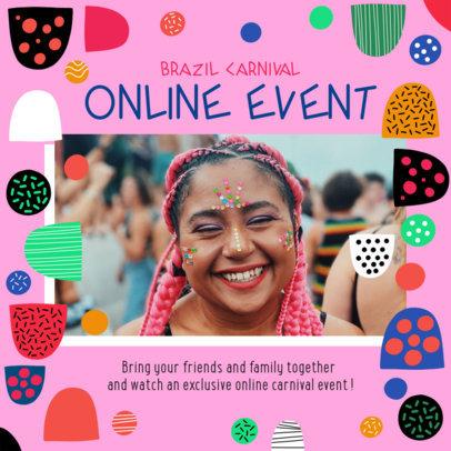 Instagram Post Maker for an Online Brazilian Carnival Party 3432b