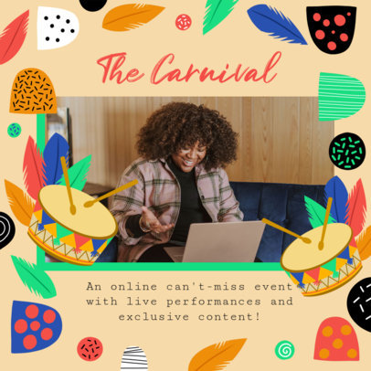 Brazilian Carnival-Themed Instagram Post Maker for an Online Event Invitation 3432h