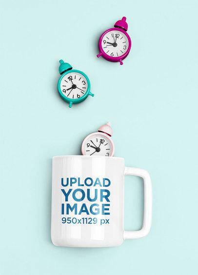 11 oz Coffee Mug Mockup Featuring Tiny Alarm Clocks m1968-r-el2