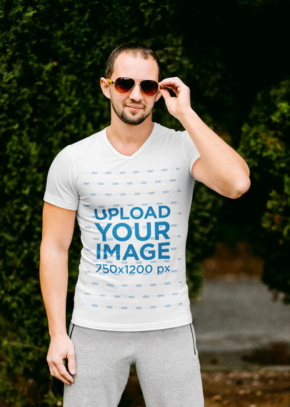 V-Neck T-Shirt Mockup of a Man Wearing an Athleisure Look and Sunglasses m2049r-el2