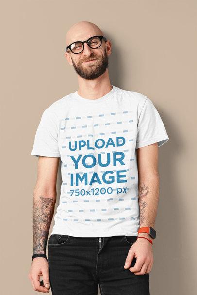 T-Shirt Mockup of a Happy Bearded Man With Arm Tattoos m1432-r-el2