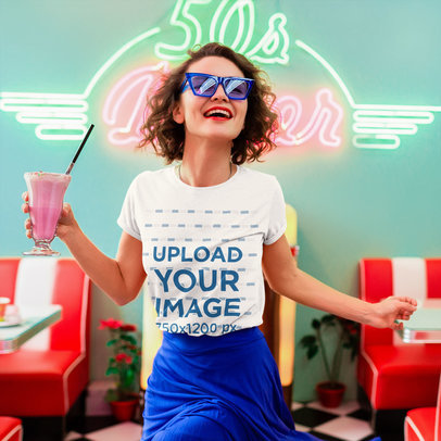 T-Shirt Mockup Featuring a Happy Woman Holding a Strawberry Milkshake m2082-r-el2