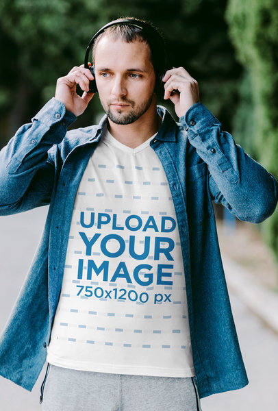 V-Neck T-Shirt Mockup of a Man With Headphones and an Athleisure Look m1782-r-el2