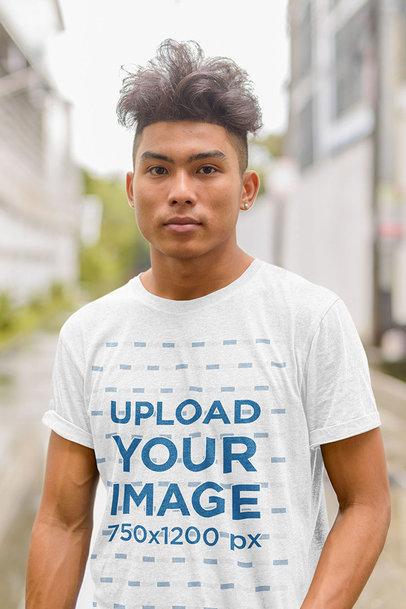 Heathered T-Shirt Mockup Featuring a Serious Man Posing m1318-r-el2