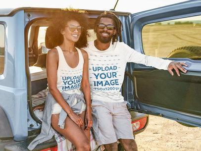 Long Sleeve Tee and Tank Top Mockup of an Adventurous Couple in the Back of a Truck 45677-r-el2