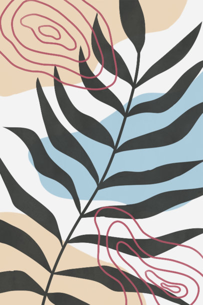 Art Print Design Template Featuring a Minimal Illustration of a  Plant 3426e