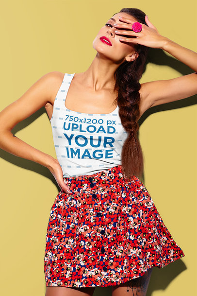 Tank Top Mockup of a Fashionable Woman Doing a Dramatic Pose m1451-r-el2