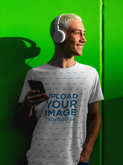 Mockup of a Man Wearing Headphones and a T-Shirt m2197-r-el2
