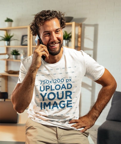 T-Shirt Mockup of a Man Making a Call in His Office M1823-r-el2