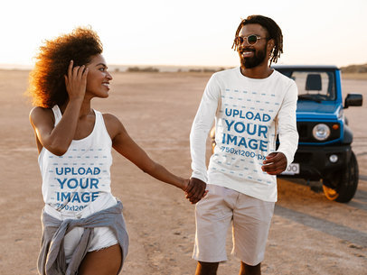 Tank Top and Long Sleeve Tee Mockup of a Couple by the Beach M1341-r-el2
